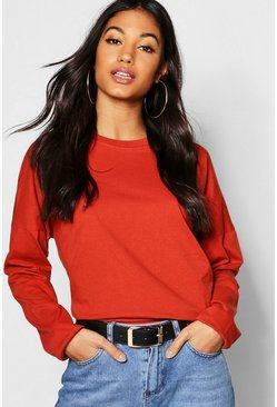 Womens Terracotta Basic Cotton Drop Shoulder T-Shirt