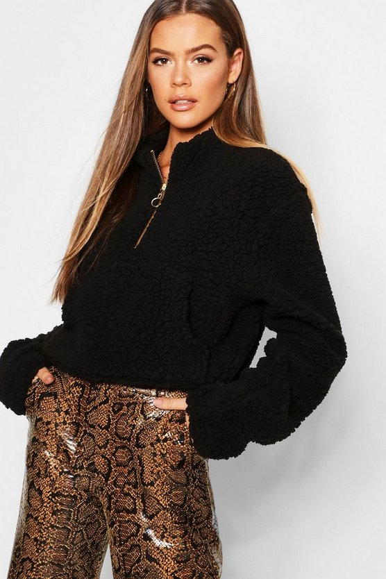 Teddy Fur 1/2 Zip High Neck Sweat