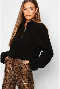 Womens Black Teddy Fur 1/2 Zip High Neck Sweat