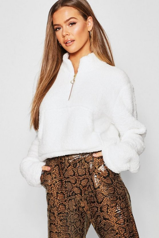 Womens White Teddy Fur 1/2 Zip High Neck Sweat