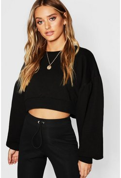 Womens Black Balloon Sleeve Crop Sweat