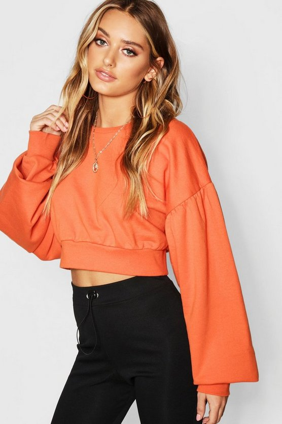 Balloon Sleeve Crop Sweat