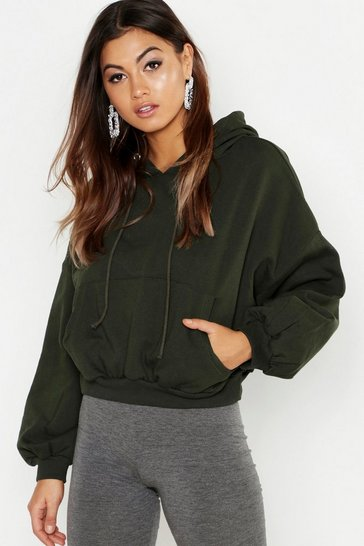 Womens Khaki Slouch Over Head Hoody