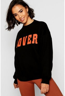 Lover Applique Slogan Sweat, Black, Donna