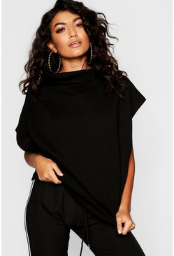 Womens Black Funnel Neck Drop Arm Sweat