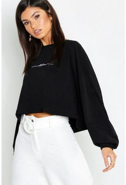 Womens Black Cotton Slogan Embroidered Long Sleeve T-Shirt