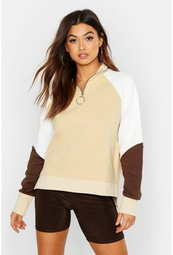 Womens Stone Colour Block Zip Pull Oversized Sweat