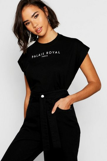 Womens Black Cotton Cap Sleeve Slogan T-Shirt
