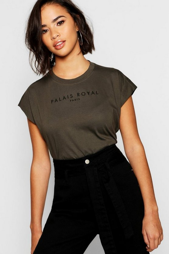 Womens Khaki Cotton Cap Sleeve Slogan T-Shirt