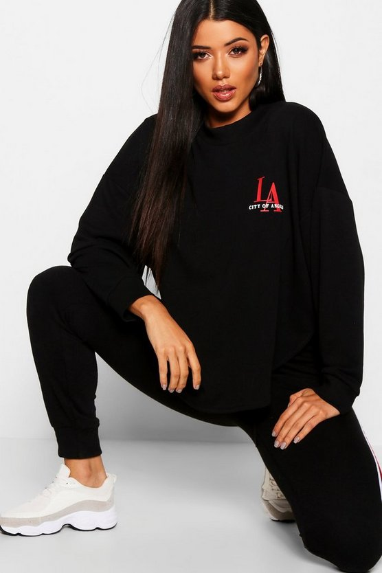 Curved Hem LA Slogan Sweat, Black, Donna