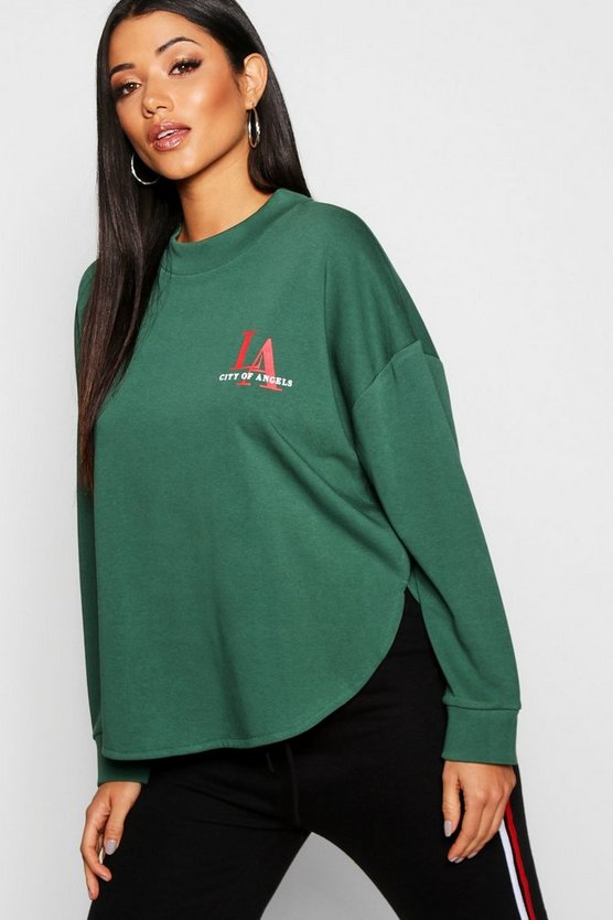 Womens Emerald Curved Hem LA Slogan Sweat