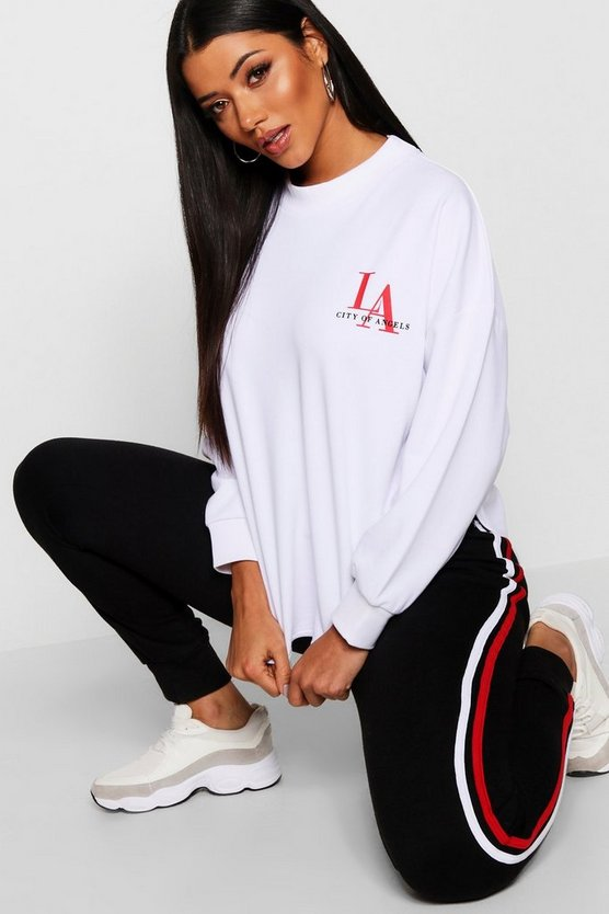 Womens White Curved Hem LA Slogan Sweat