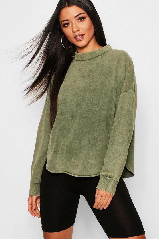 Womens Emerald Washed Curve Hem Drop Arm Sweat