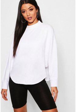 Womens White Washed Curve Hem Drop Arm Sweat