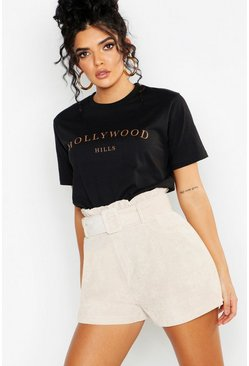 Womens Black Hollywood Slogan Printed T-Shirt