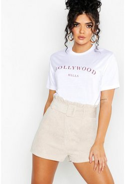 Womens White Hollywood Slogan Printed T-Shirt