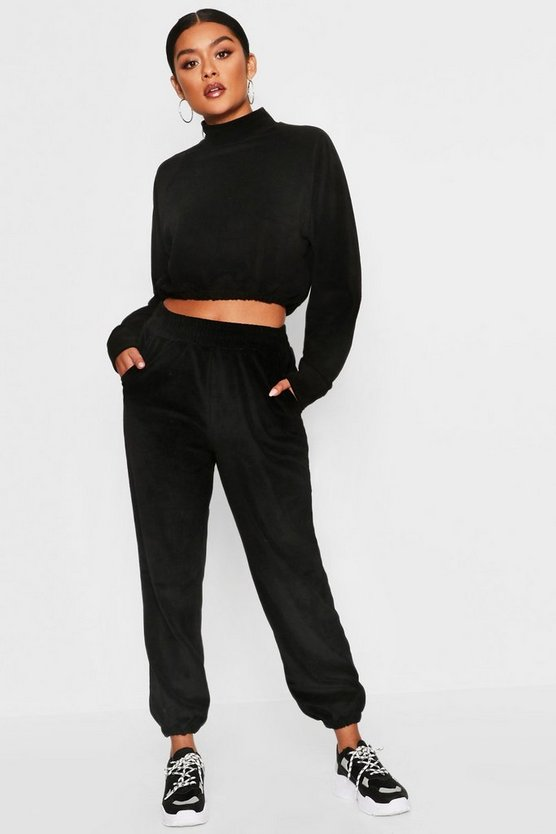 Womens Black Velour High Neck Crop Sweat