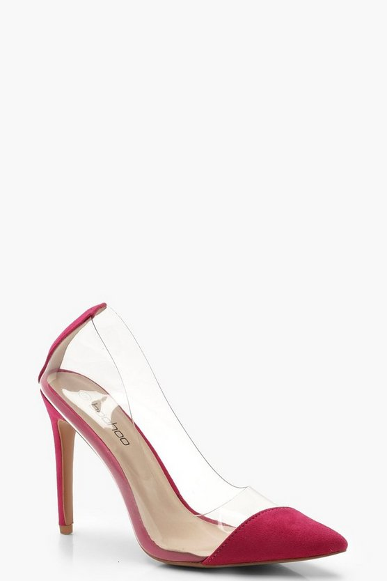 Womens Hot pink Clear Pointed Court Shoes