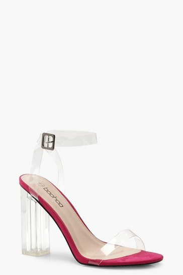 Womens Hot pink Clear Strap And Block 2 Part Heels