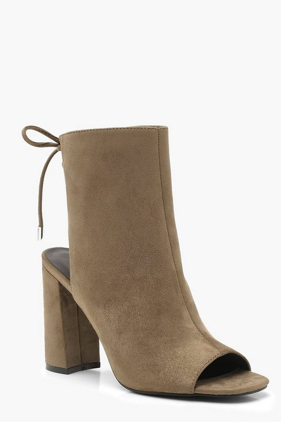 Lace Back Block Heel Shoe Boots, Khaki, Donna