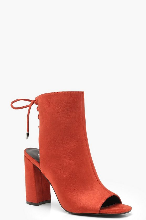Lace Back Block Heel Shoe Boots, Rust, DAMEN
