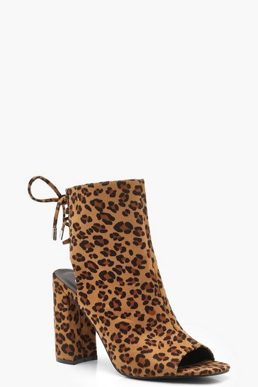 Womens Leopard Lace Back Block Heel Shoe Boots