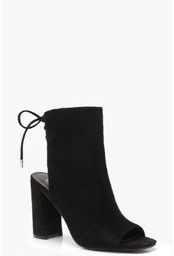 Lace Back Block Heel Shoe Boots, Black, DAMEN