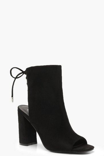 Black Lace Back Block Heel Shoe Boots