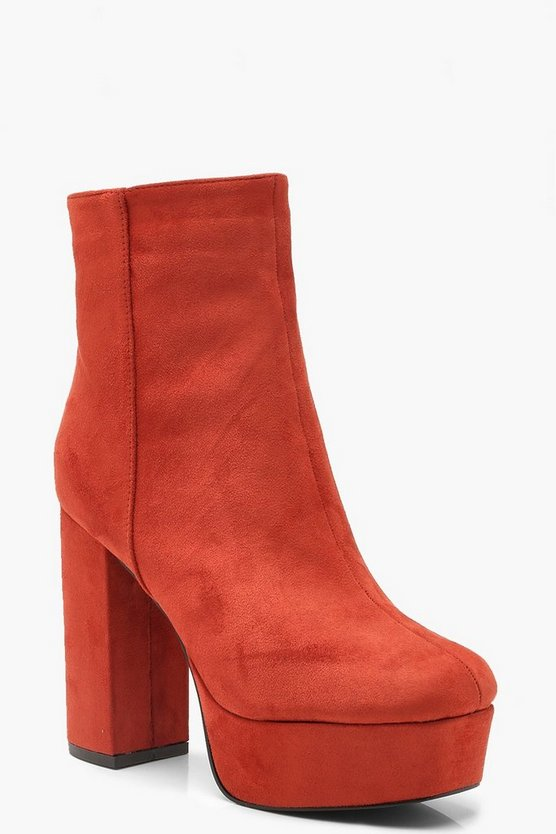 Womens Rust Platform Shoe Boots