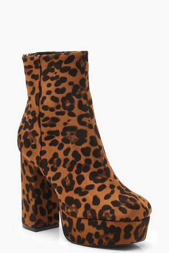 Ankle Boots mit Leopardenmuster und Plateausohle, Leopard, Damen