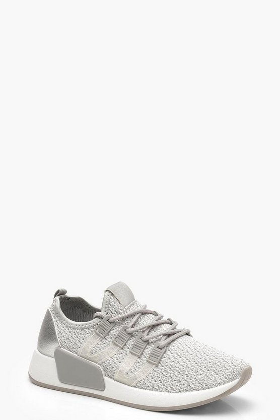 Knitted Sports Trainers, Grey, Donna