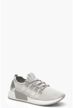 Womens Grey Knitted Sports Trainers