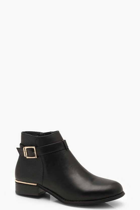 Womens Black Buckle Snake Back Chelsea Boots