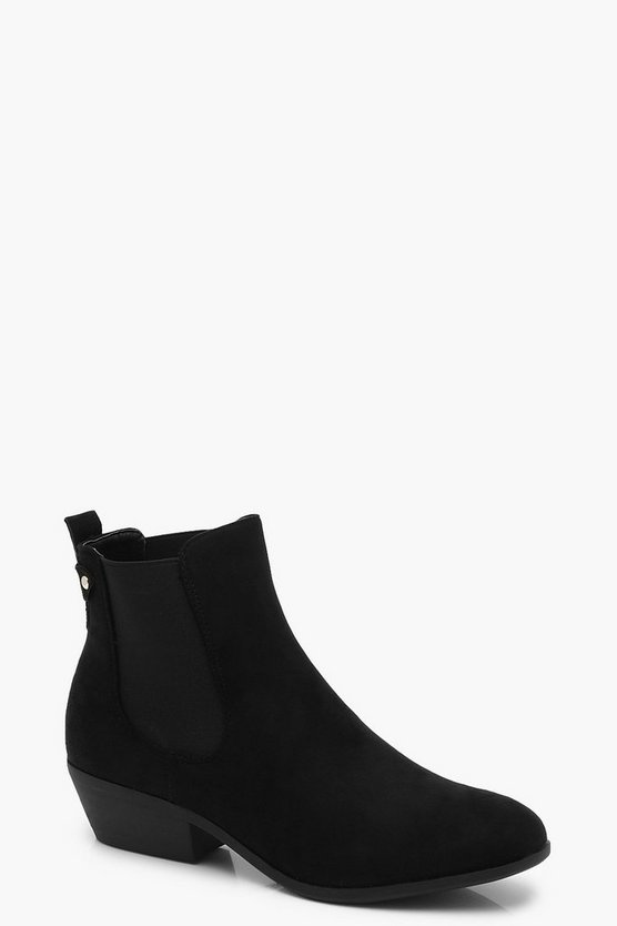 Womens Black Western Style Chelsea Boots