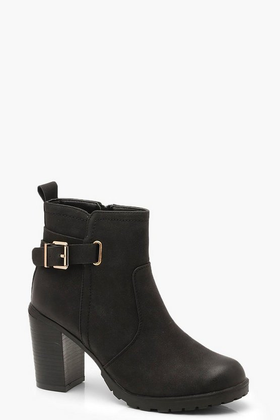 Womens Black Buckle Trim Heeled Chelsea Boots