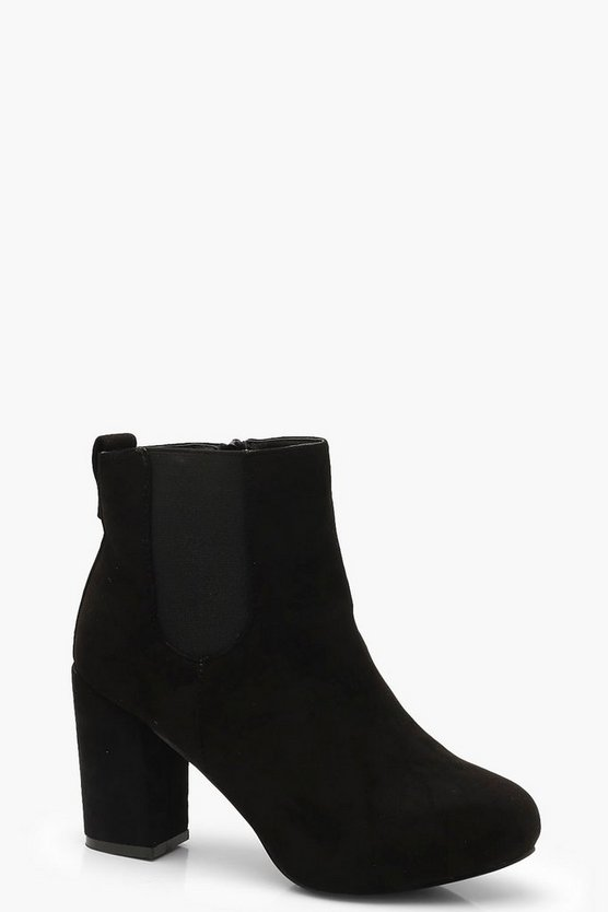 Womens Black Platform Block Heel Shoe Boots