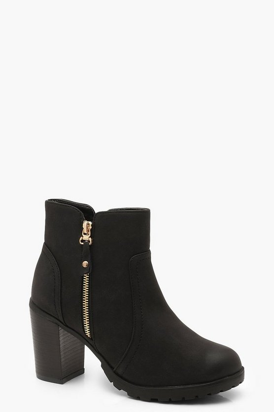 Womens Black Zip Trim Heeled Chelsea Boots