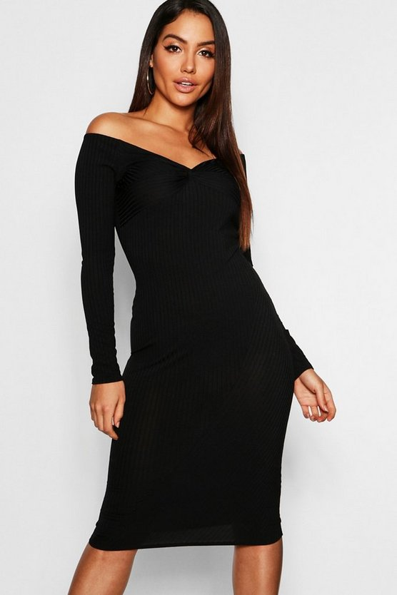 Black Ribbed Off The Shoulder Twist Detail Midi Dress