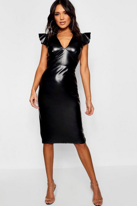 Womens Black PU Frill Sleeve Midi Dress