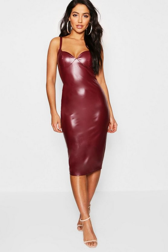 PU Strappy Midi Bodycon Dress