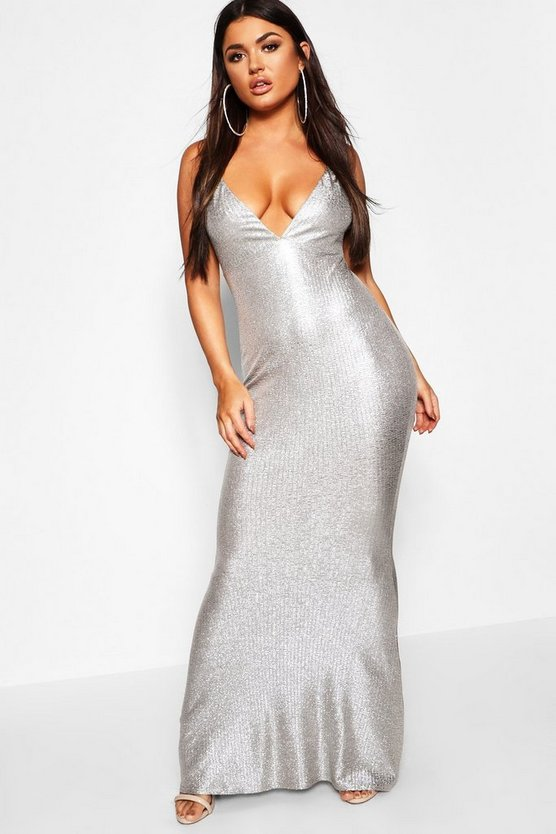 Womens Silver Metallic Strappy Plunge Fishtail Maxi Dress