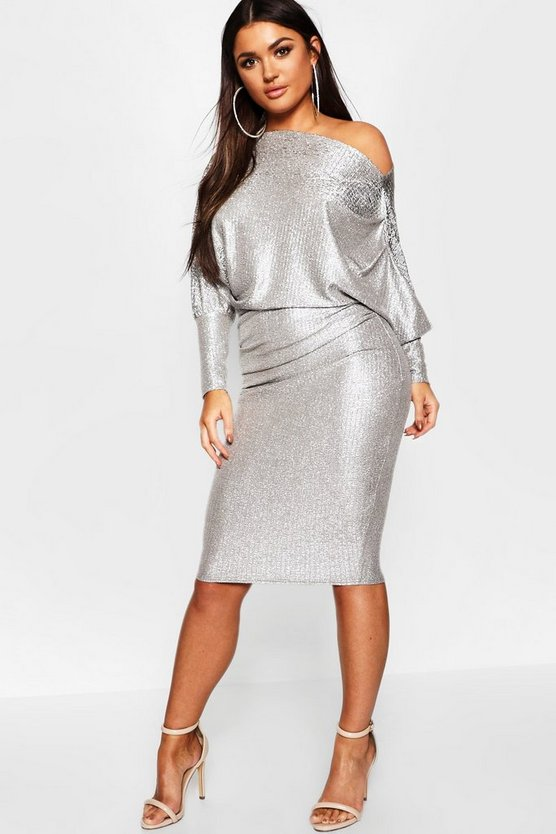 Silver Off The Shoulder Metallic Midi Bodycon Dress