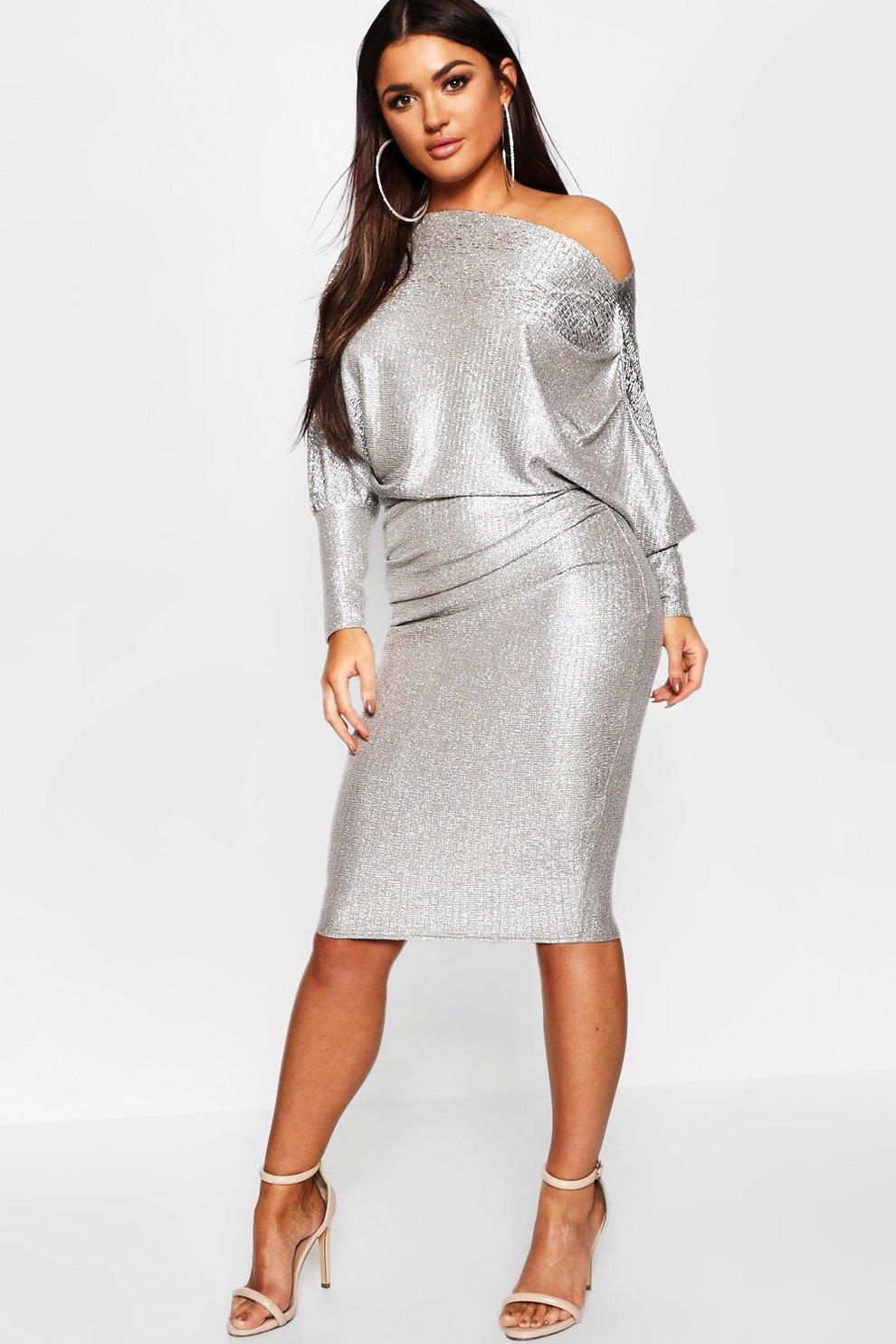 cb2cf211539f Off The Shoulder Metallic Midi Bodycon Dress | Boohoo