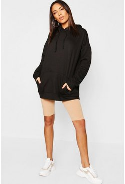 Womens Black Oversized Hoody Longline