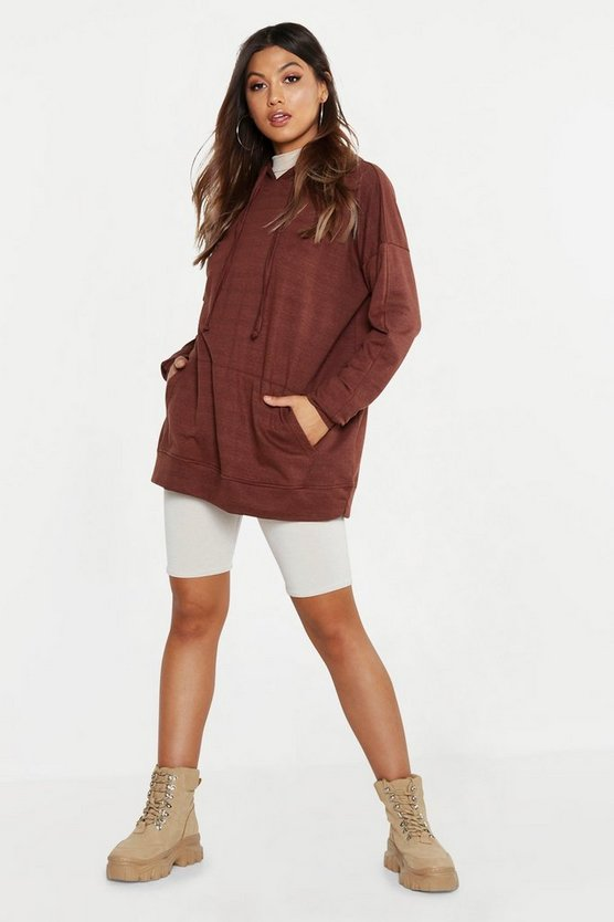 Womens Chocolate Oversized Hoody Longline