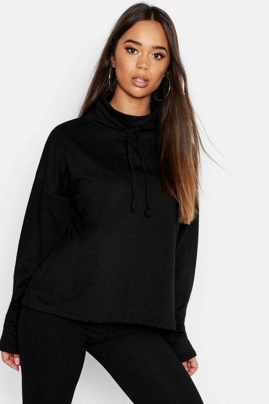 Womens Black Ruffle Neck Draw Cord Sweat