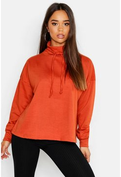 Womens Rust Ruffle Neck Draw Cord Sweat