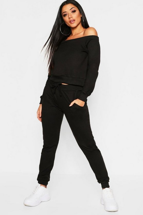 Womens Black Bardot Cropped Sweat Set