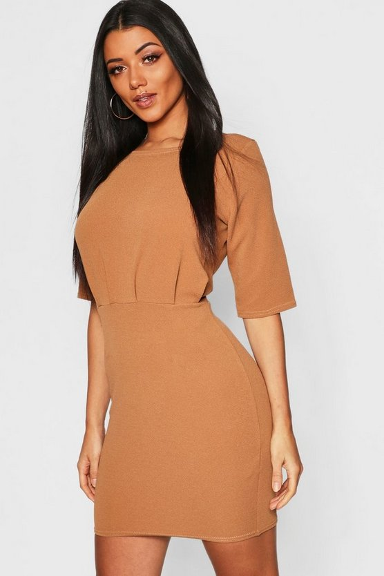 Womens Camel Gathered Waist Mini Dress