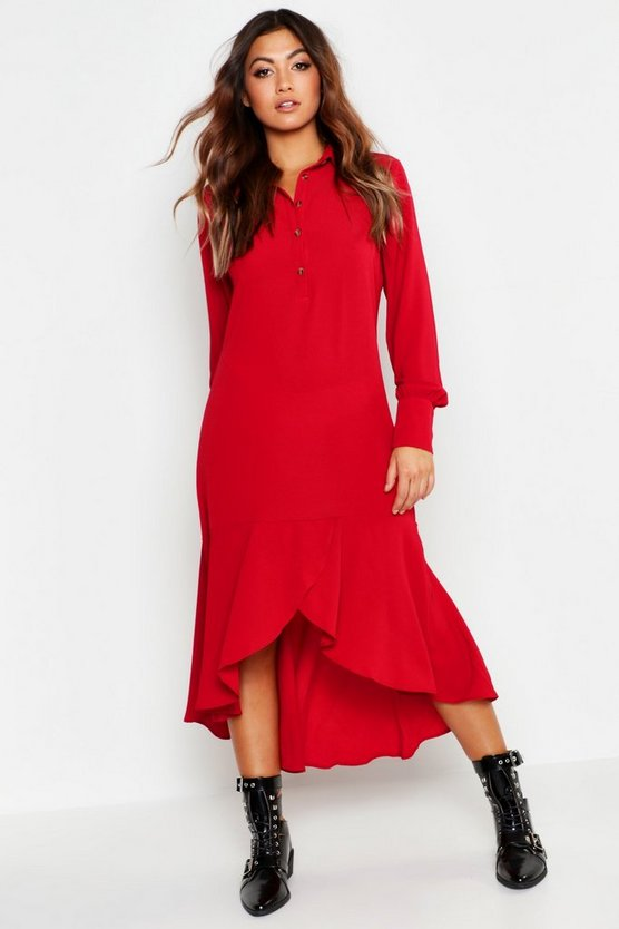 Shirt Dress Hem Ruffle Detail Midi Dress